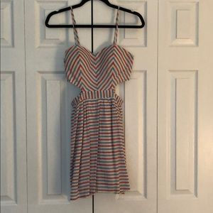 Red White and Blue dress with side cutouts